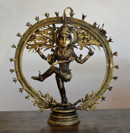 Brass Sculpture titled 'Lord Shiva Natraz' by artist Kushal Bhansali