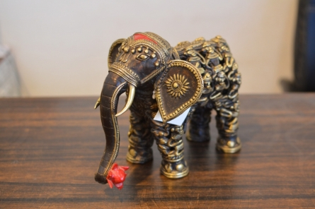 Kushal Bhansali | Mens Figure Elephant Sculpture by artist Kushal Bhansali on Brass | ArtZolo.com