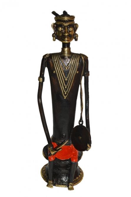 Musician Man 2 | Sculpture by artist Kushal Bhansali | Brass