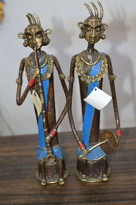 Brass Sculpture titled 'Musician Women' by artist Kushal Bhansali