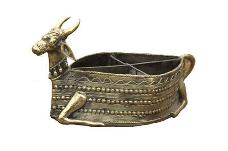 Nandi Dry Fruit Stand | Craft by artist Bhansali Art | Brass