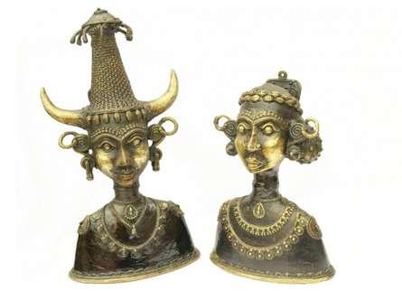Kushal Bhansali | Tribal Head Pair Craft Craft by artist Kushal Bhansali | Indian Handicraft | ArtZolo.com