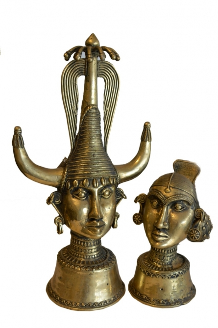 Tribal Head Pair 1   Sculpture by artist Kushal Bhansali   Brass