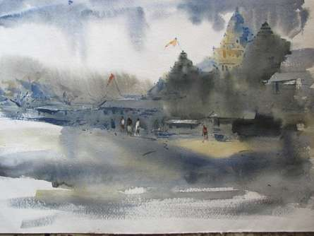 Prafulla Taywade | Watercolor Painting title 11111 131 on cold pressed | Artist Prafulla Taywade Gallery | ArtZolo.com