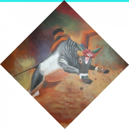 Vignesh Kumar | Acrylic Painting title Jallikattu on Canvas | Artist Vignesh Kumar Gallery | ArtZolo.com