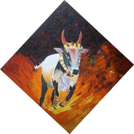 Animals Acrylic Art Painting title 'Jallikattu' by artist Vignesh Kumar