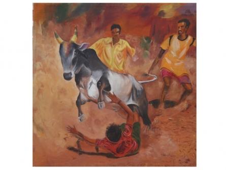 Tamilnadu bull fight | Painting by artist Vignesh Kumar | acrylic | painting