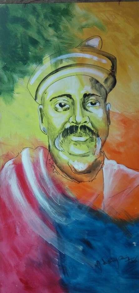 Figurative Acrylic Art Painting title 'lokmanya tilak' by artist Vignesh Kumar