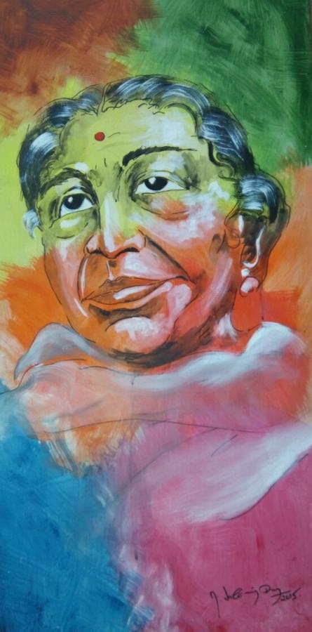 Portrait | Painting by artist Vignesh Kumar | acrylic | CardBoard