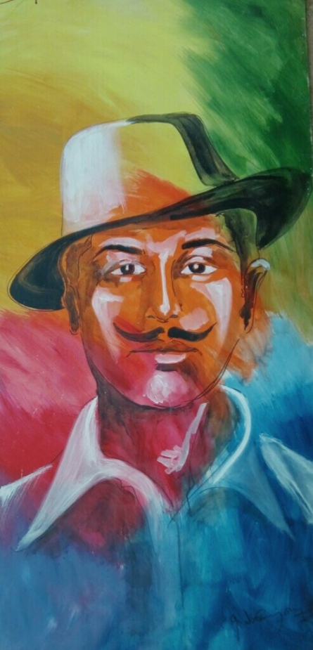 Figurative Acrylic Art Painting title 'Bhagat singh' by artist Vignesh Kumar