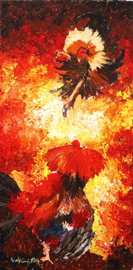 Abstract Acrylic Art Painting title 'COCK FIGHT' by artist Vignesh Kumar