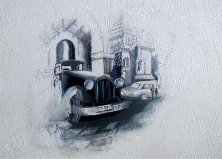 Lifestyle Acrylic Art Painting title 'My Old City' by artist Jyotirmoy Bhuyan