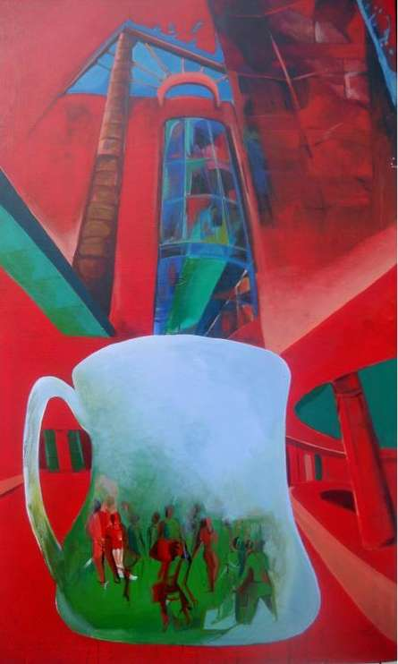 Lifestyle Acrylic Art Painting title 'The Cup Of Gallery' by artist Jyotirmoy Bhuyan