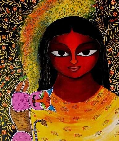 Figurative Acrylic Art Painting title 'Basanti VIII' by artist Meenakshi Jha Banerjee