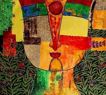 Meenakshi Jha Banerjee | Acrylic Painting title Basanti IX on Canvas | Artist Meenakshi Jha Banerjee Gallery | ArtZolo.com
