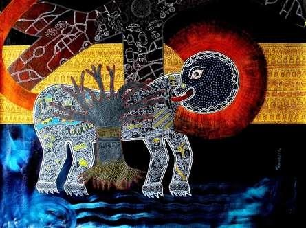 Meenakshi Jha Banerjee | Acrylic Painting title City Life on Canvas | Artist Meenakshi Jha Banerjee Gallery | ArtZolo.com