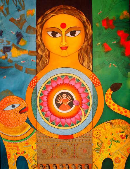 Religious Acrylic Art Painting title Durga by artist Meenakshi Jha Banerjee