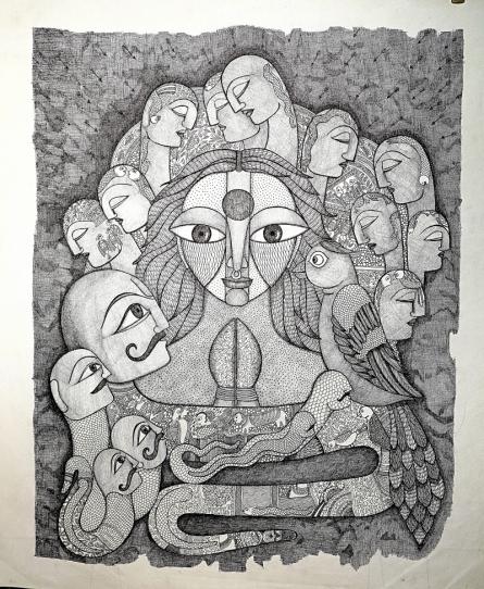 Figurative Acrylic Art Painting title 'Gambler' by artist Meenakshi Jha Banerjee