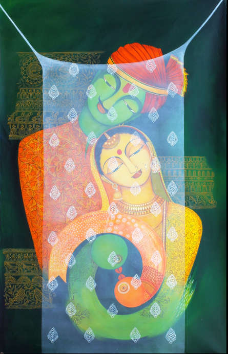 Figurative Acrylic Art Painting title 'Pardey Mey Rahney Do 3' by artist Meenakshi Jha Banerjee