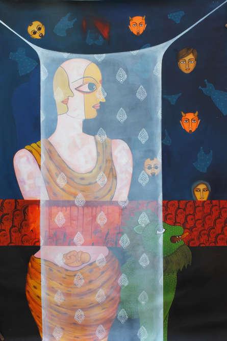 Figurative Acrylic Art Painting title 'Pardey Mey Rahney Do 4' by artist Meenakshi Jha Banerjee