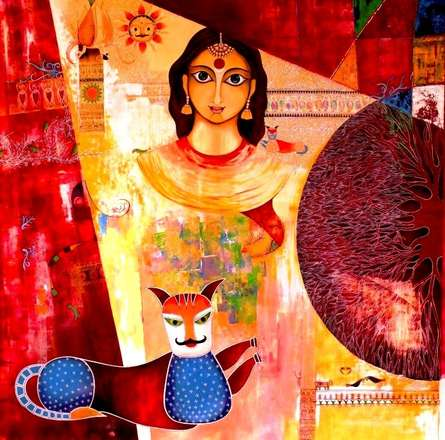 Figurative Acrylic Art Painting title 'Untitled I' by artist Meenakshi Jha Banerjee