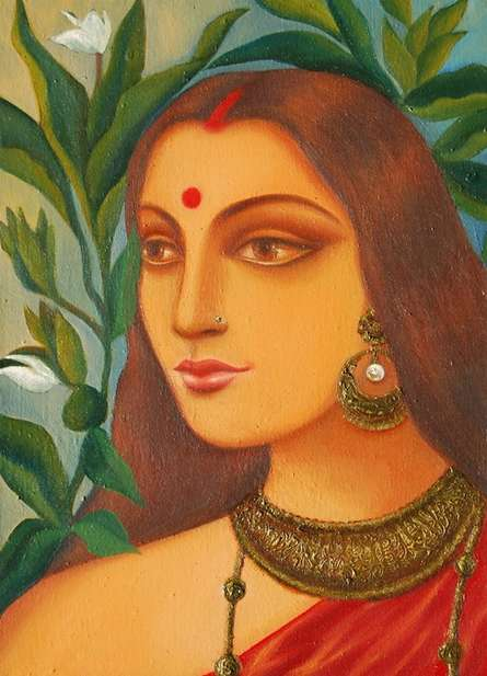 Figurative Oil Art Painting title Bengali Bride IV by artist Suparna Dey
