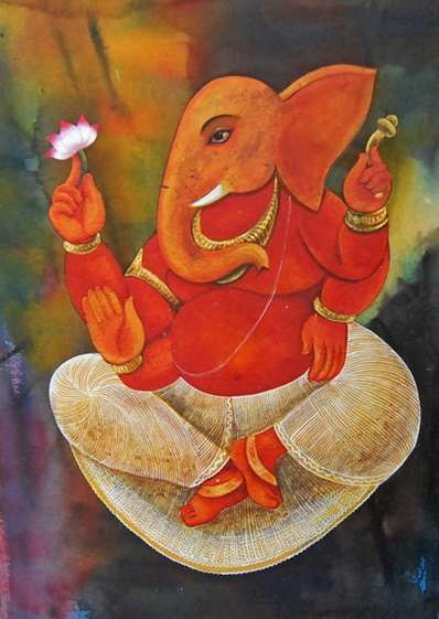 Religious Tempera Art Painting title Lord Ganesha by artist Suparna Dey