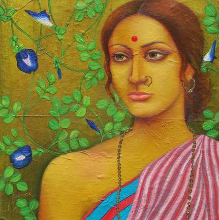 Suparna Dey | Oil Painting title Megh Balika on Canvas | Artist Suparna Dey Gallery | ArtZolo.com
