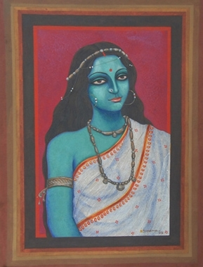 Portrait Tempera Art Painting title 'Nilambari' by artist Suparna Dey
