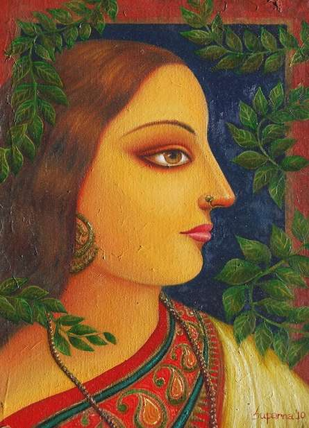 Figurative Oil Art Painting title 'Rai Kamol' by artist Suparna Dey