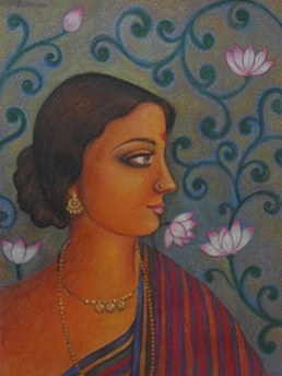 Portrait Tempera Art Painting title 'Ramani' by artist Suparna Dey