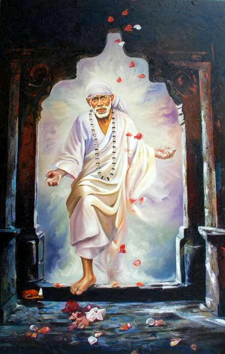 Realistic Oil Art Painting title 'Sai Baba V' by artist Anurag Swami