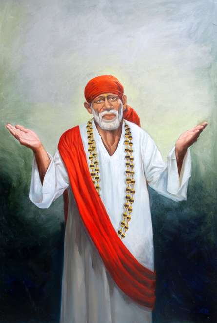 Realistic Oil Art Painting title 'Sai Baba IV' by artist Anurag Swami