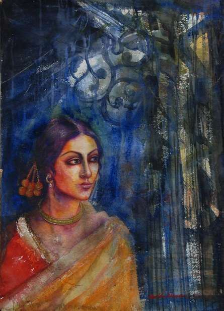 Figurative Watercolor Art Painting title Rani by artist Harisadhan Dey