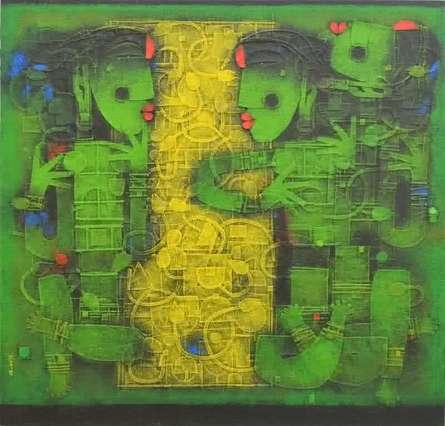 Converse | Painting by artist Basuki Dasgupta | acrylic | Canvas