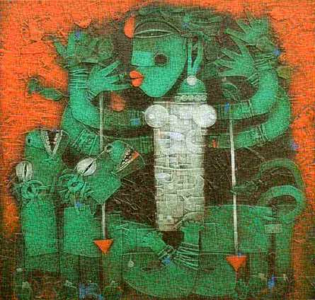 Basuki Dasgupta | Acrylic Painting title Devi on Canvas
