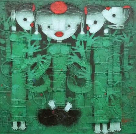 Religious Acrylic Art Painting title 'Devi 2' by artist Basuki Dasgupta