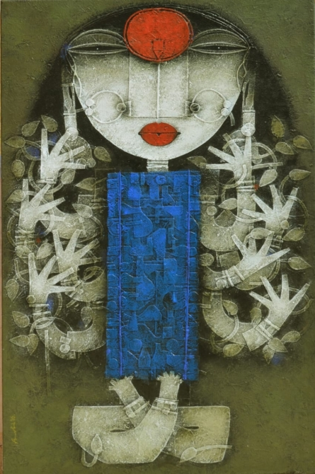 Religious Acrylic Art Painting title Devi 3 by artist Basuki Dasgupta