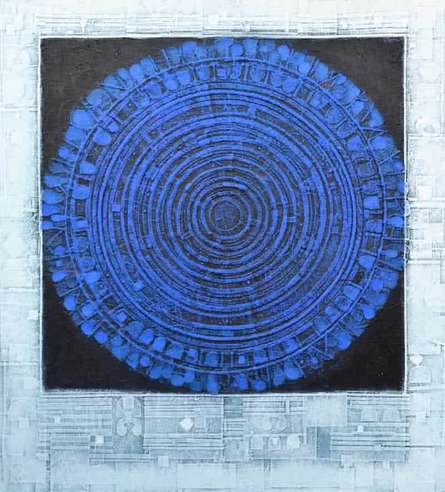 Abstract Acrylic Art Painting title 'The Universe' by artist Basuki Dasgupta