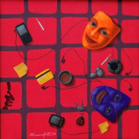 Fantasy Acrylic Art Painting title 'Accessories' by artist Swaroop Biswas