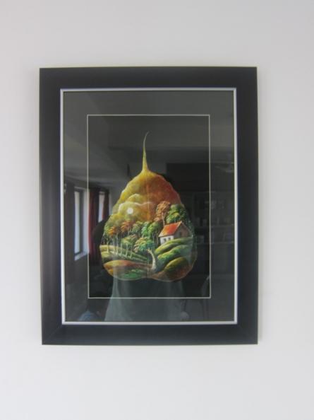 Landscape on Peepal leaf | Painting by artist Navodyami Program | oil | Leaf