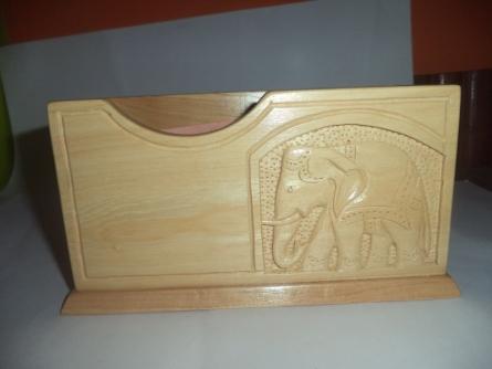 Pen stand cum notepad holder   Wood Handicraft   By Navodyami