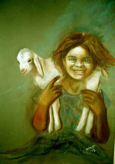 Companions | Painting by artist Shoma Mukherjee | dry-pastel | Paper