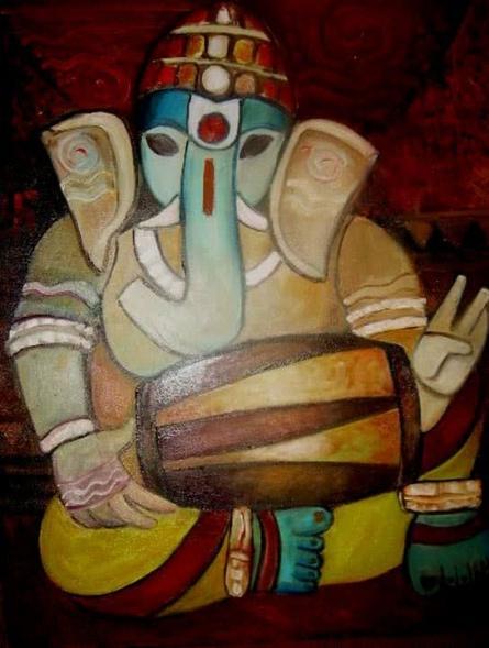 Ganesha1 | Painting by artist Shoma Mukherjee | oil | Canvas