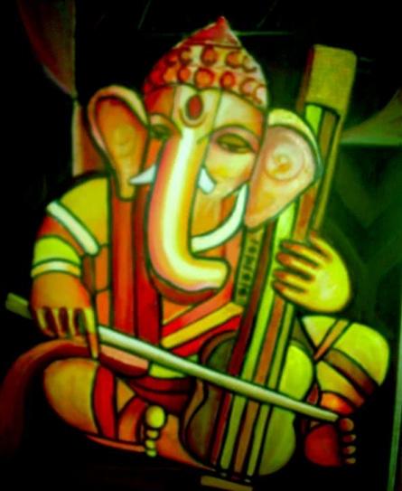 Ganesha2   Painting by artist Shoma Mukherjee   acrylic   Canvas