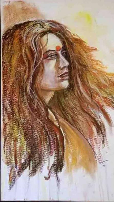 She 2   Painting by artist Shoma Mukherjee   dry-pastel   Paper