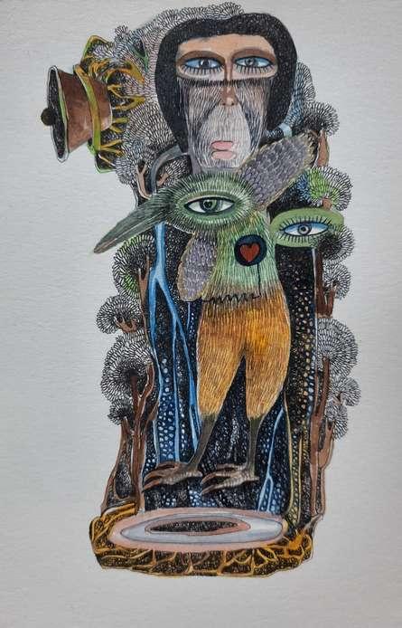 art, painting, paper, watercolor, figurative