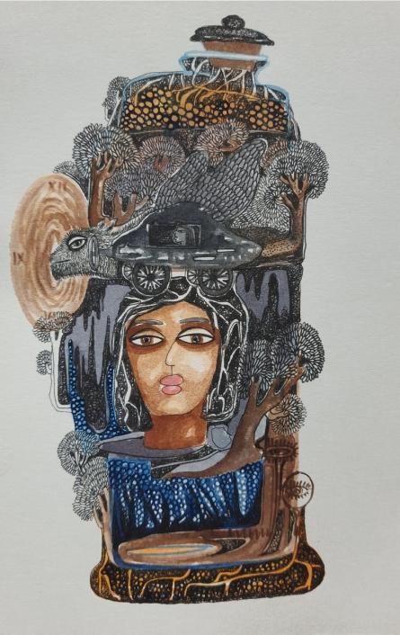 Figurative Watercolor Art Painting title Start Early by artist Pradnya Khandgonkar