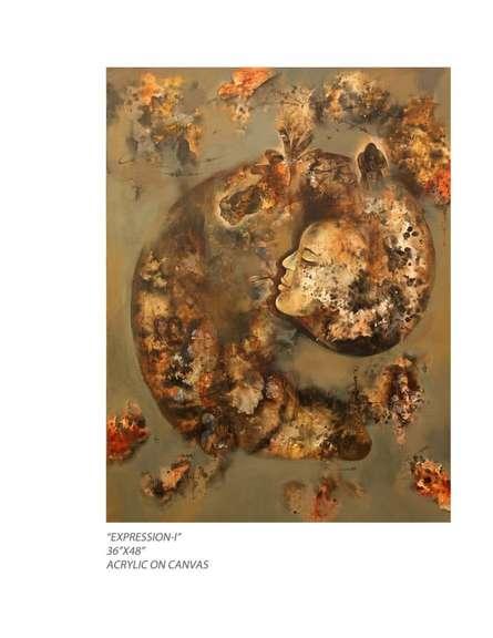 Expressionist Acrylic Art Painting title 'Expression I' by artist Pradnya Khandgonkar