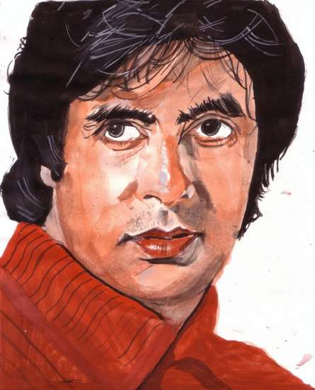Photorealistic Watercolor Art Painting title 'Amitabh Bachchan the evergreen actor' by artist Saurabh Turakhia